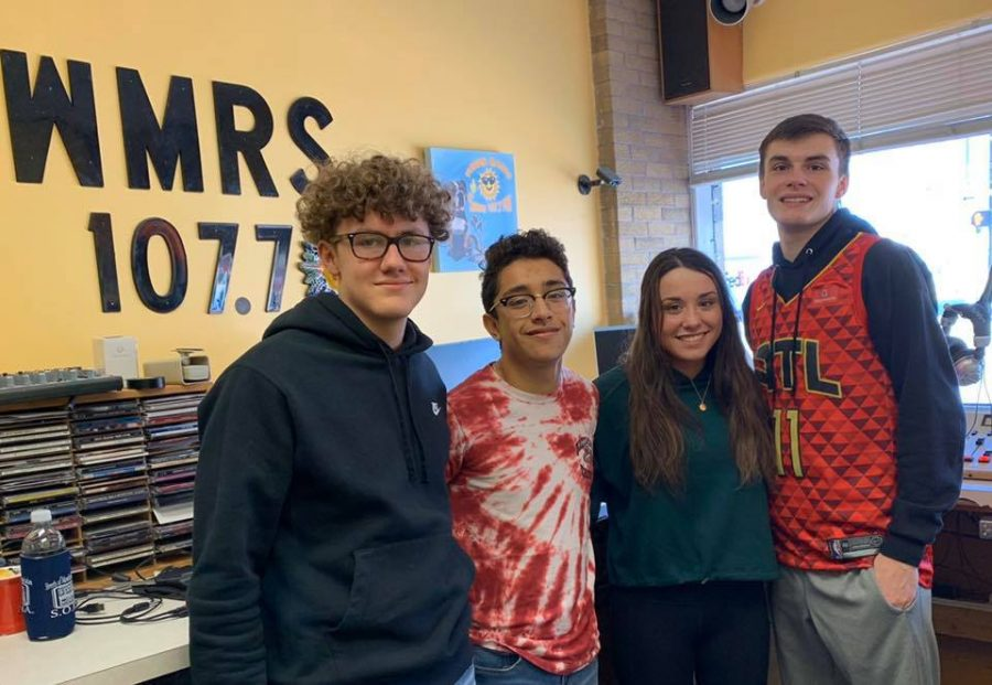 Marketing students Logan Creamer, Eduardo Puga, Kiara Johnston, and Noah Johnston record the Tribe Radio Show.