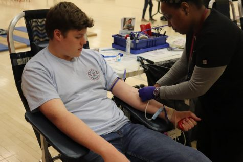 "Luke Geiger gave blood for the first time today. His experience was a positive one and said, ""I"