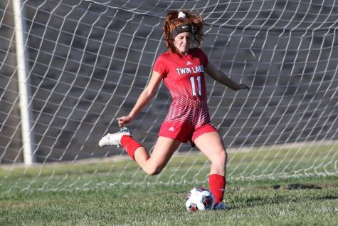"""Senior Haley Beach prepares to take a goal kick during the Benton Central game. Beach went on to say, """"It was a rough game, but the improvement that some of the girls made over the summer really showed."""""""