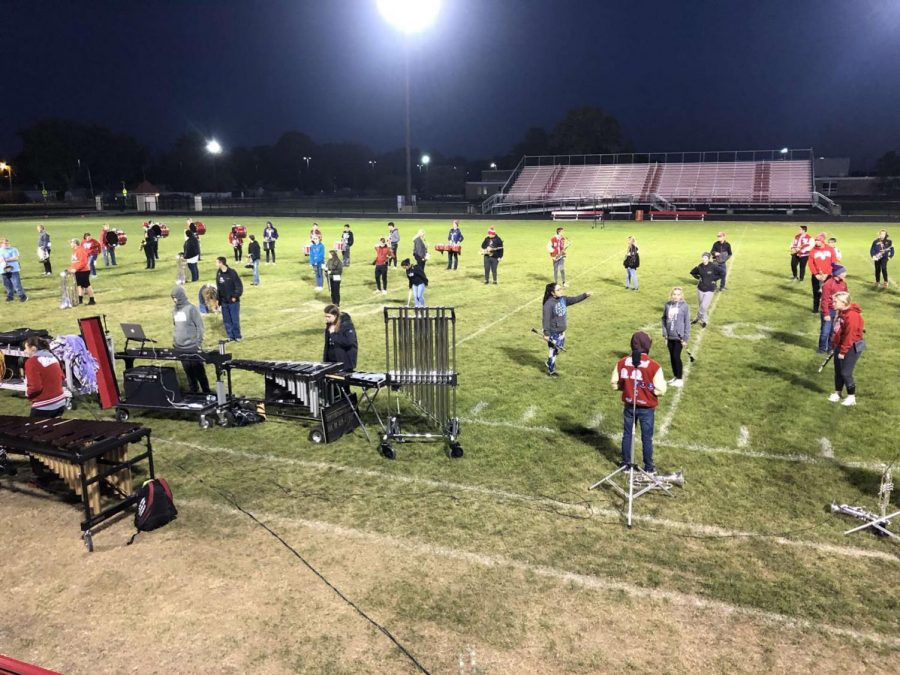 Here the Spirit of Twin Lakes is practicing to perfect their show for a big stretch of performances in the next week. They will be recording an ISSMA Assessment Video Monday(10/5), host a community performance Wednesday(10,7), and perform during halftime of Friday's home football game(10/9). When Senior Kane Jarvis was asked about what he is looking forward to this next week, he said,