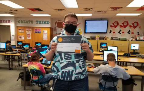 """Tanner Robinette Passee his MOS certification test in Access! Tanner said """"I am so happy I passed, Access is one of the hardest certifications offered in school."""" Computer Science 3: Databases is a class where you learn Access and SQL. The class is taught by Mr. McAtee."""