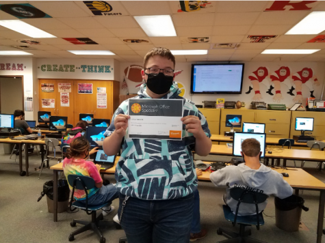 "Tanner Robinette Passee his MOS certification test in Access! Tanner said ""I am so happy I passed, Access is one of the hardest certifications offered in school."" Computer Science 3: Databases is a class where you learn Access and SQL. The class is taught by Mr. McAtee."