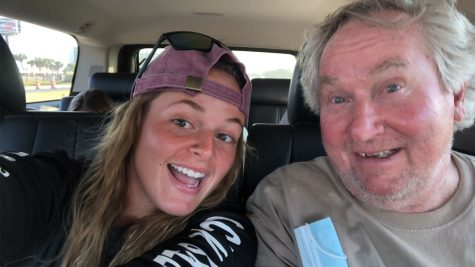 "Meet my grandpa Ronnie. This is us heading to Florida. My grandpa is my best friend and always knows how to make me smile. This picture was taken right after he was singing ""Big John"""