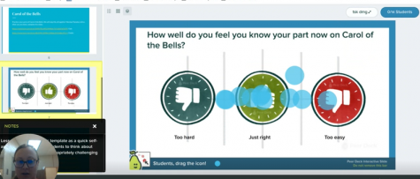 Shown is a screenshot of the Pear Deck choir students were engaged in last week. Choir is meeting regularly online to prepare for their upcoming virtual program.