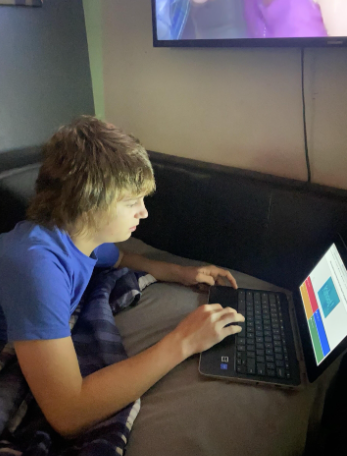 "Ross Howard is a freshman at Twin Lakes High School. He is pictured working on his Algebra E-Learning assignment. Ross said, ""E-Learning is not my favorite thing to do, but it"