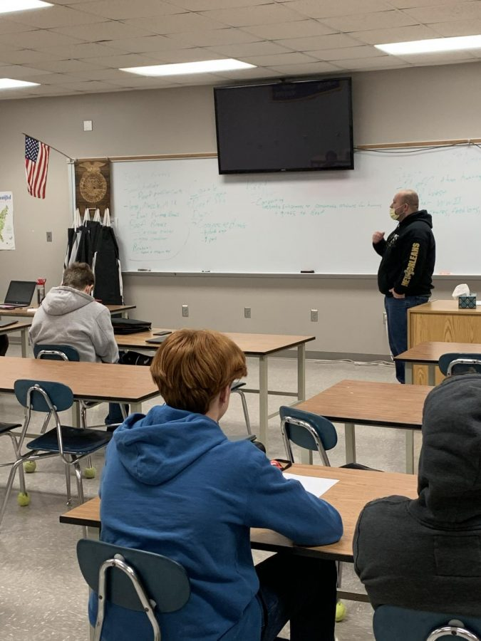 Mr. Burns teaches his intro to ag class, with freshmen. Mr. Burns class is learning about the study of the digestive system and how important nutrients are in the digestive system.