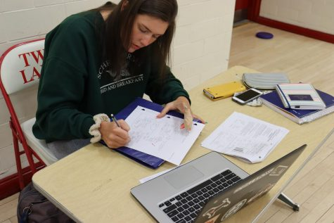 Madison Mayo is concentrated on doing Ivy Tech Math homework and putting in the work during her senior year.