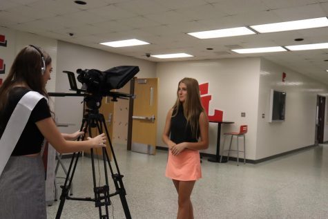 Madi Moseley films Grace Marocco for the intro of our new CTE video showcase. Grace and Madi are both award winning Interactive Media students.
